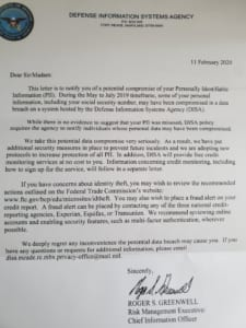 DISA Disclosure Letter about White House Data Breach. From Roger Greenwell.
